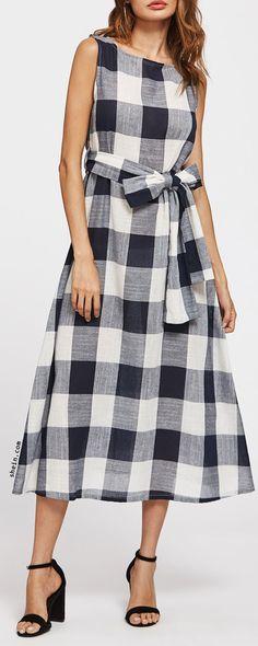 Self Tie Checked Dress