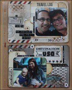 Pochette 15x21.7 recupere de l'album didll de ma fille!! Photos de nous a CDG; Masking tape de chez scraperlipopette, tampons de chez scraposphere, titres en Dymo et oeillets