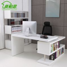Mo Bosi white paint corner computer desk desk desk with bookcase rotatable shipping(China (Mainland))