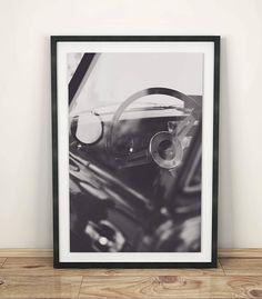 Triumph Spitfire sports car photo black & white details of
