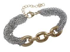 Stainless Steel & Gold Ip Link Bracelet 20-23cm