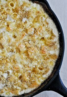 four cheese baked skillet rigatoni with garlic, mascarpone, gruyere, sharp cheddar, and fontina cheese