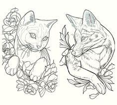 Cat and fox Tattoo Sketches, Tattoo Drawings, Body Art Tattoos, Art Sketches, Animal Sketches, Animal Drawings, Cat Tattoo Designs, Fox Tattoo Design, Desenho Tattoo