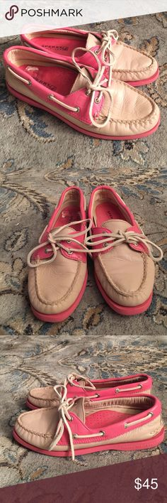 Sperry top sider PINK EUC Very nice pair pink on pink sperry top sider boat shoe.So cute.right shoe shows signs of sticker wear. Sperry Top-Sider Shoes Flats & Loafers