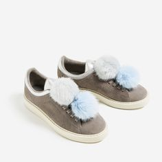 promo code 0855b 0a3cb GREY LEATHER SNEAKERS WITH POMPOMS-SHOES-WOMAN-COLLECTION SS17  ZARA