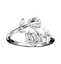 Sterling Silver Textured Rose Ring
