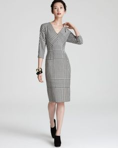 Escada Mega Houndstooth Dress - Black and White | Bloomingdale's