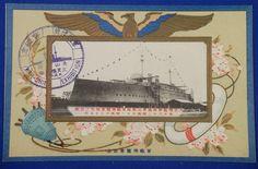 "1914 Japanese Navy Postcards Commemorative for ""Warship Exhibition"" ( Battleship MIKASA )  / vintage antique old Japanese military war art card / Japanese history historic paper material Japan - Japan War Art"