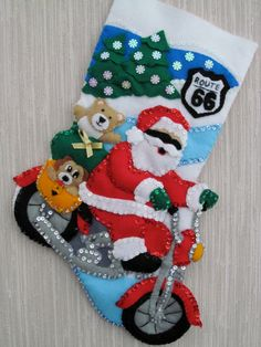 FELT STOCKING KIT / Route 55 / Santa  Motorcycle  by WhatCameFirst, $22.98