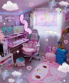 Cute Bedroom Decor, Room Design Bedroom, Room Ideas Bedroom, Gaming Room Setup, Gaming Rooms, Pc Setup, Kawaii Bedroom, Otaku Room, Cute Room Ideas