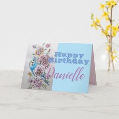 Blue Budgie & Rose Flower Happy Birthday Name Card Blue Budgie, Happy Birthday Name, Photo Thank You Cards, Budgies, Romantic Gifts, Abstract Flowers, Name Cards, Custom Greeting Cards, Vintage Gifts