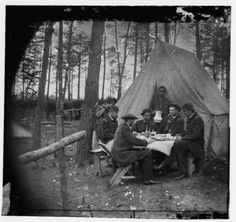 Dinner Party Outside Tent at the Army of the Potomac Headquarters - Brandy Station, VA, April 1865