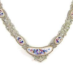 Vintage German Silver Filigree and Porcelain Enamel Flower Necklace, Hand Painted