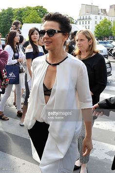 Juliette Binoche arrives to the Giorgio Armani Prive show as part of Paris Fashion Week - Haute Couture Fall/Winter 2014-2015 at Theatre National de Chaillot on July 8, 2014 in Paris, France.