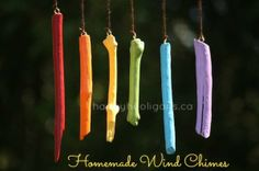 wind chimes made with painted sticks (happy hooligans) - outdoor spring crafts for kids to make