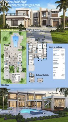 Plan Marvelous Contemporary House Plan with Options Check out that deck over the garage in Architectural Designs Luxury House Plan 5 beds and over square feet of heated living space in this beauty. Where do YOU want to build? Contemporary House Plans, Modern House Plans, Modern House Design, Modern Contemporary, Modern Luxury, Sims 4 Modern House, House Plans Design, House Plans With Pool, Beach House Floor Plans