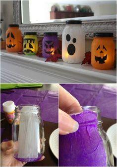 DIY Mason Jar Jack-o-lanterns halloween easy crafts halloween decorations halloween crafts mason jar crafts halloween crafts for kids
