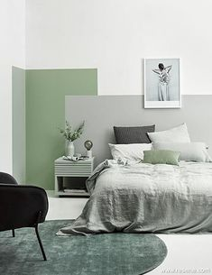 Soothing sanctuary - creating a tone-on-tone look Colour inspiration Bedroom Green, Bedroom Colors, Home Bedroom, Ikea Bedroom, Bedroom Furniture, Bedroom Wall Colour Ideas, Grey Green Bedrooms, Art Deco Interior Bedroom, Green Bedroom Design