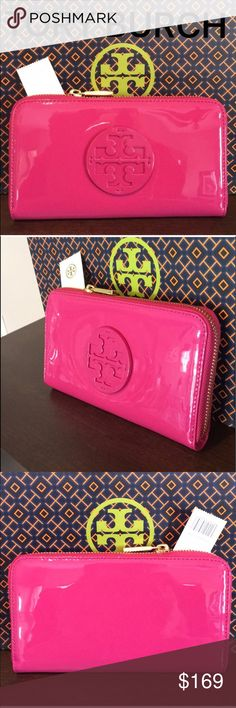 TORY BURCH LARGE NEW ZIP WALLET AUTHENTIC TORY BURCH LARGE NEW WITH TAG NEVER USED ZIP WALLET AUTHENTIC ! STUNNING AND STYLISH TOTALLY ON TREND! JUST LOVELY! TRUE HIGH END LUXURY AND STYLE! IT IS PINK PATENT. IT HAS A GREAT 3 SIDE ZIPPER . INSIDE HR LARGE WALLET IS A ZIP SECTION, 8 CARD SLOTS, TWO LARGE WALL POCKETS AND 2 OPEN SECTIONS FOR MORE ITEMS. WHAT AN AMAZING WALLET! COMES WITH TORY BURCH GIFT BAG. NEW BUT NO PRICE ON TAG. THE PERFECT LARGE WALLET FOR ANY WOMAN! BEING PATENT THE…