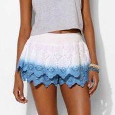 UO White to blue ombré lace layered shorts UO White to blue ombré lace layered shorts. Elastic waist band. Cotton. 13 inches long. 1 3/4 inch inseam. Urban Outfitters brand: staring at stars. Tag reads large. Urban Outfitters Shorts