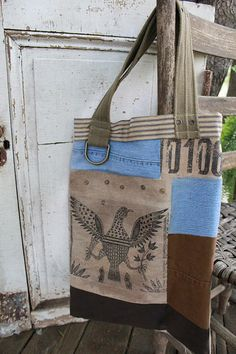 cinnamon creek dry goods | Eagle Tote....Eagle tote A nice lined tote. Vintage look and feel.   19 x 14               48.00