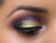 or this look I used Make Up For Ever #92 eyeshadow in the crease and blended it out with MAC Samoa Silk as well as a tiny bit of Make Up For Ever #75. Then on the lid I used MAC Old Gold pigment and I darkened the outer corners with MAC Shadowy Lady first and then Carbon. Next, I tapped a bit of Fyrinnae Pixie Epoxy on the center of my lids and pressed the I Like 2 Watch dazzleshadow on with my fingers. Finally, I highlighted the brow bone with MAC Blanc Type and the inner corners with NARS…