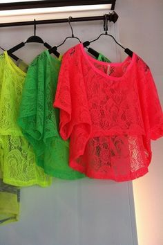 Neon lace shorts <3