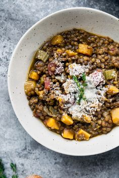 This hearty Butternut Squash Lentil Stew is simple enough for a weeknight dinner, but flavourful enough to serve to guests all winter long.