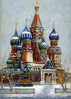 Gold domes of Russia - Fedoskino lacquer boxes artist Borisova