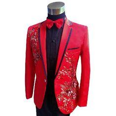 Red Black Sequin Slim Fit Wedding Best Man Prom Tuxedo Dress Suit Men SKU-123630