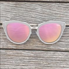QUAY Every Little Thing Sunglasses Brand new! Tan frames with pink mirror lenses. Comes with soft case. SO stylish and on trend for summer. As seen on YouTuber Desi Perkins. Quay Australia Accessories Sunglasses