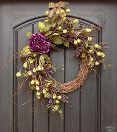 Fall Wreath Purple Berry Branches Twig by AnExtraordinaryGift