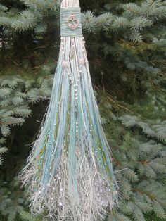 So Pretty~  Aqua and Turquois Blue Wedding Broom Pagan by WayOfTheCauldron