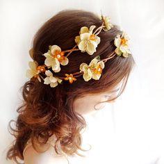 fall wedding flower wreath -  HARVEST - rustic bridal hair accessory, ivory head piece, burnt orange. $95.00, via Etsy.