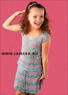 """Летний костюм с узором """"зигзаг"""" для девочки 8-9 лет: топ и юбка. Спицы"""