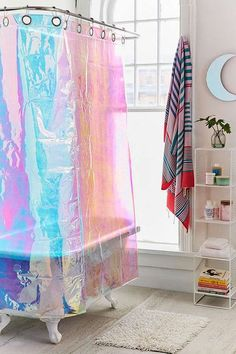 10 Pretty Shower Curtains To Makeover Your Bathroom is part of - Whether you're working with a clawfoot tub or tiny wet room, these 10 standout shower curtains will make cleaning up way more fun Pretty Shower Curtains, Cactus Shower Curtain, Bathroom Shower Curtains, Shower Curtain Art, Bathroom Grey, Small Bathroom, Diy Casa, Bathroom Images, Blog Deco