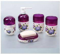 Purple Flowers Pattern Plastic Bathroom Accessory Set 5 Pieces Bath Decor