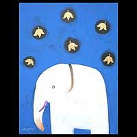 Symbolizing Thai royal heritage, a white elephant poses under falling leaves in this #painting