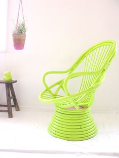 Retro Egg Cane Chair Upcycled with Neon & Pastel Hues, via Etsy.