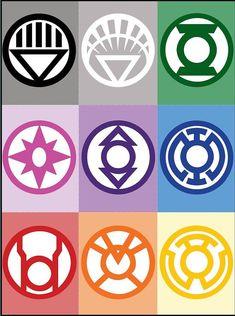 All Lantern Corps Symbols White Lantern Corps, Black Lantern, White Lanterns, Green Lantern Tattoo, Green Lantern Symbol, Lantern Rings, Green Lantern Comics, Comic Art, Comic Books