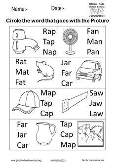 Kindergarten - Global Kids Indian School English Worksheets For Kindergarten, 1st Grade Math Worksheets, Spelling Worksheets, Vocabulary Worksheets, Nursery Worksheets, Printable Preschool Worksheets, Alphabet Worksheets, Free Printables, Hindi Worksheets