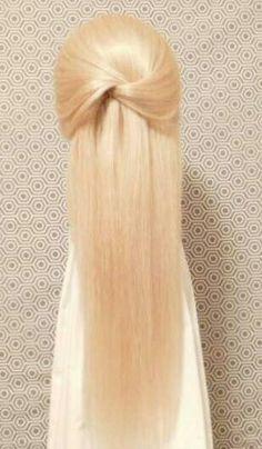 Quick elegant hairdo for long hair.