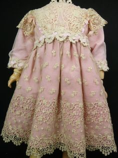 French Pink Cotton Antique Dolls Dress with Gauze and Lace Overlay