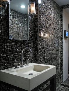 51 Cool Black And White Bathroom Design Ideas | DigsDigs (wall tile)