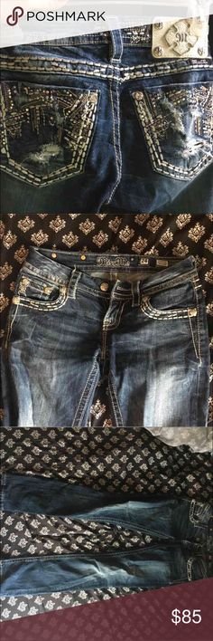 Miss Me straight jeans Perfect condition, never been in the dryer. All the diamonds and buttons are still on. Only worn a few times then I got pregnant and couldn't wear them anymore. Trying to sell so I can go get a bigger size. They don't sell these online anymore, sold out. Signature straight. 31 inseam. Color: MK 220  The diamond are a sparkly multi color almost like crystals. These jeans are gorgeous, pictures do them no justice. These jeans are gorgeous! I hate selling them. Miss Me…