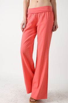 Fold over linen pants- super comfortable!!! Available in white, black, coral…