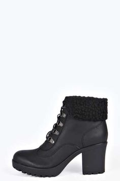 Frankie Lace Up Shearing Lined Heeled Boot