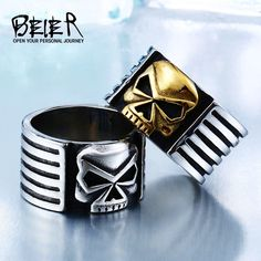 2018 New Top Quality Stainless Steel Punk Vintage gold colour Anchor Biker  Ring For Man` 52c4428be3fa