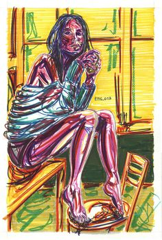 """sul tavolo"", marking pen and watercolor marking pen, 140lb/300gsm - 46x31cm paper, 2017 author: ernesto maria giuffre' #painting #pen #art #woman #drink #table #sitting"