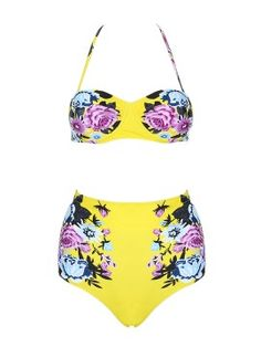 Shop Yellow Halter Floral Cupped Bikini Top And High Waist Bottom from choies.com .Free shipping Worldwide.$17.99